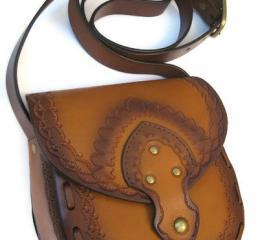 Tooled Boho Leather Vegetable Tan Cross Body Bag with Adjustable Strap Vintage Style Paisley Haze